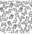 black and white flying butterflies pattern vector image vector image