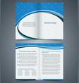 blue bifold brochure template design vector image vector image