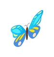 Blue butterfly icon isometric 3d style vector image vector image