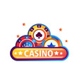 casino promo emblem with bright chips for poker vector image vector image