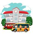 Children riding van to school vector image vector image