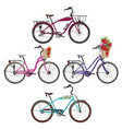 city bikes in flat style vector image vector image