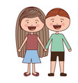 color silhouette smile expression cartoon couple vector image vector image