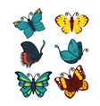 colorful butterfly set of six isolated on white vector image vector image