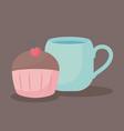 delicious cupcake with cup icon vector image vector image