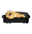 dog sleeping on couch pet asleep bulldog dormant vector image vector image