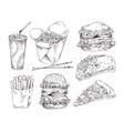 fast food types monochrome icon promo set vector image