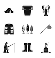 Fishing icons set simple style vector image vector image