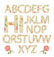 flower alphabet with rose flowers and leaves vector image