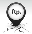 FTP black icon in crack vector image vector image