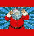 funny santa claus astronaut makes faces vector image vector image