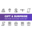 gift and surprise icons set outline style vector image