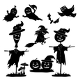 Halloween cartoon set black silhouette vector image vector image