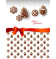 hanging gingerbread sweets with merry christmas vector image