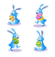 happy blue bunny collection on white background vector image