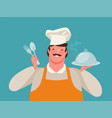 happy chef holding a tray food restaurant vector image vector image