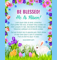 happy easter eggs bunnies greeting poster vector image vector image