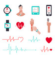 heart rate monitor for running set icons vector image vector image