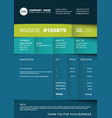 invoice template - bluegreen striped version vector image vector image
