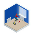 isometric professional plumber worker installing vector image vector image