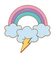 lighting and cloud with rainbow vector image