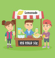 little caucasian kid selling lemonade vector image vector image