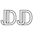logo jd dj icon sign two interlaced letters j d vector image vector image