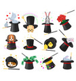 magician hat illusionist show with animal vector image vector image