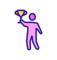 man holding cup icon outline vector image vector image