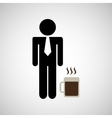 man silhouette business and mug coffee hot design vector image vector image