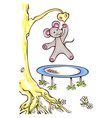 mouse jumps on trampoline vector image vector image