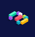 number 3 isometric colorful cubes 3d design vector image vector image