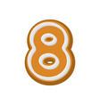 Number 8 gingerbread font peppermint honey-cake vector image