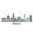 outline hanoi vietnam city skyline with color vector image vector image