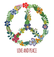 Peace symbol with colorful flowers vector image vector image