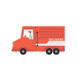 red cargo delivery van with courier fast shipping vector image vector image