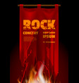 rock band concert poster on red vintage banner vector image vector image