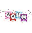 sale banner with bunting flags vector image vector image