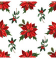 seamless pattern with poinsettia pines vector image vector image