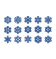 set decorative snowflakes christmas winter vector image