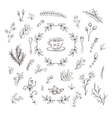 set of branches flowers leaves and bushes vector image vector image