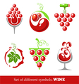 signs and symbols wine and grapes vector image vector image