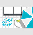 spa hotel banner with beach loungers vector image vector image