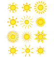 sun icons vector image vector image