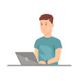 teenage guy studying on laptop vector image