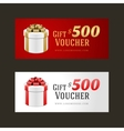 Voucher template with gift box and bow vector image vector image