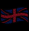 waving great britain flag pattern of percent icons vector image vector image
