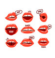 woman mouth set red sexy lips expressing vector image
