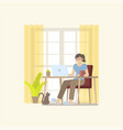 woman working at home with desk vector image