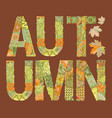 word autumn with falling leaves on a dark vector image vector image